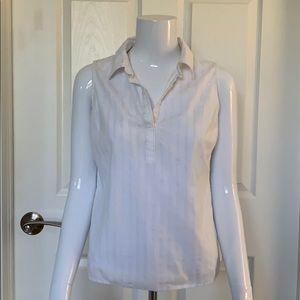 Talbots sleeveless shirt with gold pinstripes